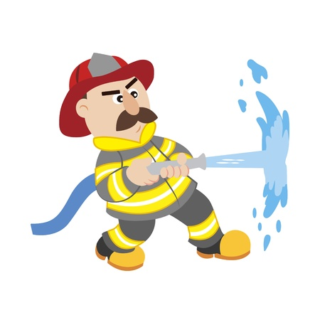 water hoses: an illustration of cartoon fireman ,vector