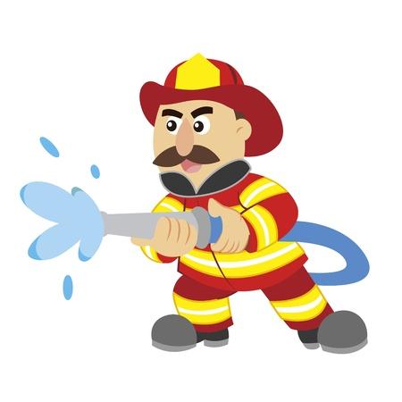 equipos trabajo: una ilustraci�n de dibujos animados bombero