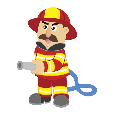 hose: an illustration of cartoon fireman