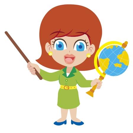 maestra enseñando: una ilustración de dibujos animados maestro