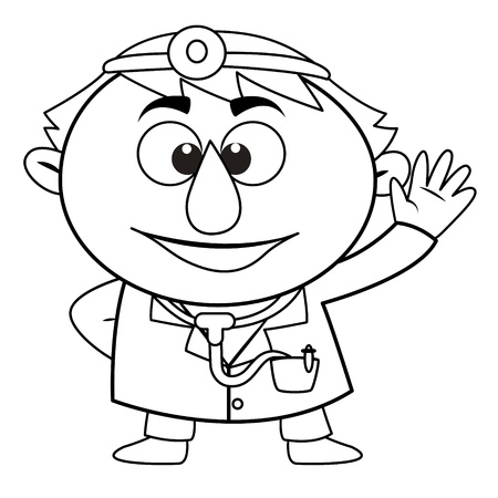 black and white coloring page outline Of a doctor Stock Vector - 17750114