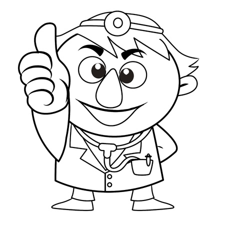 commend: black and white coloring page outline Of a doctor