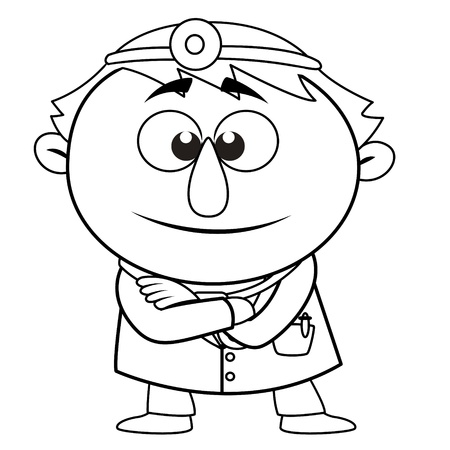 black and white coloring page outline Of a doctor, vector Vector