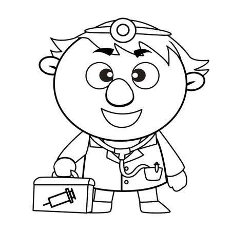 first aid kit: black and white coloring page outline Of a doctor