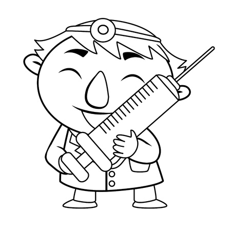 black and white coloring page outline Of a doctor Vector