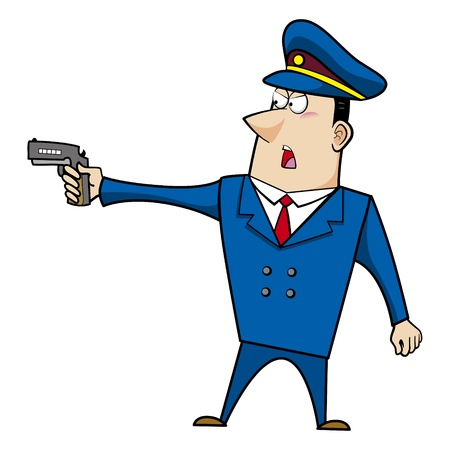 male cartoon police officer standing with a gun Stock Vector - 18107825