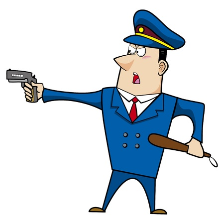 cops: male cartoon police officer standing with a gun