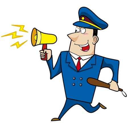 cartoon police officer: male cartoon police officer with a loudspeaker