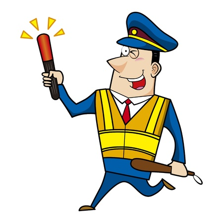 traffic police: male cartoon police officer holding a signal stick Illustration