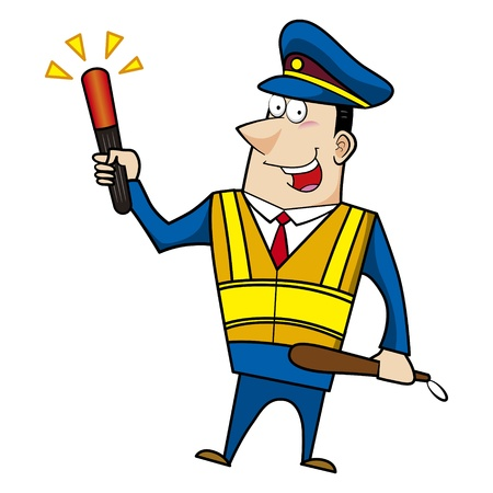 male cartoon police officer holding a signal stick Stock Vector - 18107836
