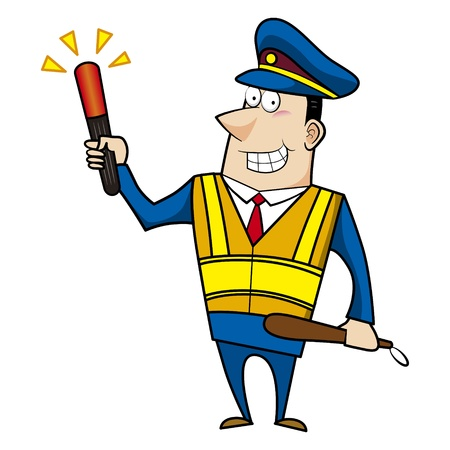 traffic rules: male cartoon police officer holding a signal stick Illustration