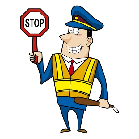 male cartoon police officer holding a stop sign Vector