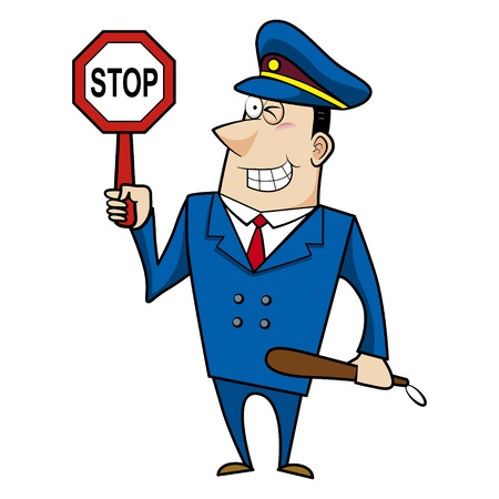 police cartoon: male cartoon police officer holding a stop sign