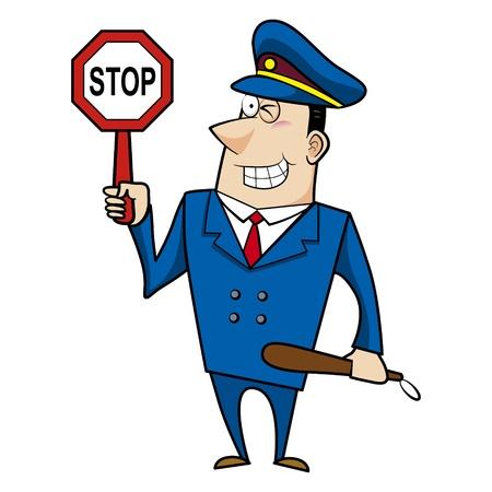 gorra policía: oficial de policía masculino historieta que sostiene un letrero de alto
