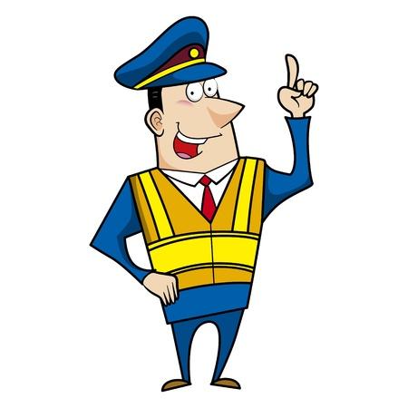 gorra policía: dibujos animados masculino policía apuntando