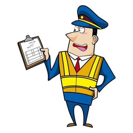 traffic police: male cartoon police officer holding a ticket