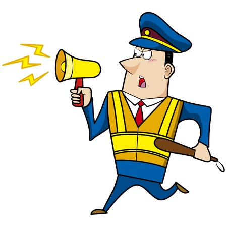 male cartoon police officer with a loudspeaker Stock Vector - 18107842