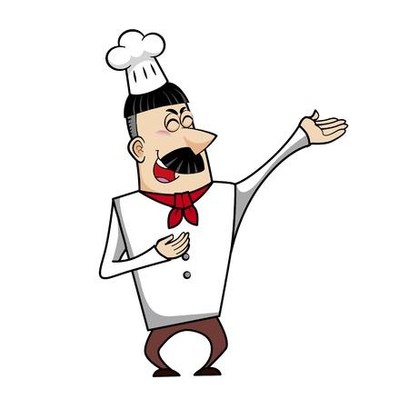 chuckling: Cartoon chef vector illustration.