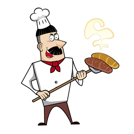 freshly baked: Cartoon chef with freshly baked bread vector illustration.