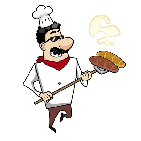 Cartoon chef with freshly baked bread vector illustration. Vector