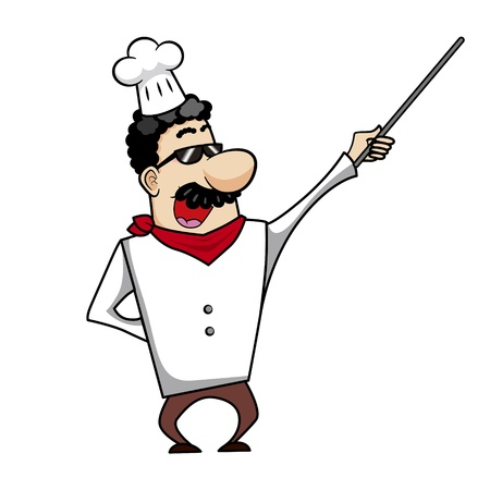 Cartoon chef with pointer stick vector illustration. Vector