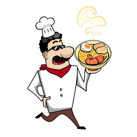 Cartoon chef with ramen bowl vector illustration. Vector