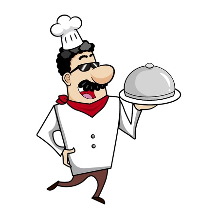 Cartoon chef with serving tray vector illustration. Stock Vector - 18261292