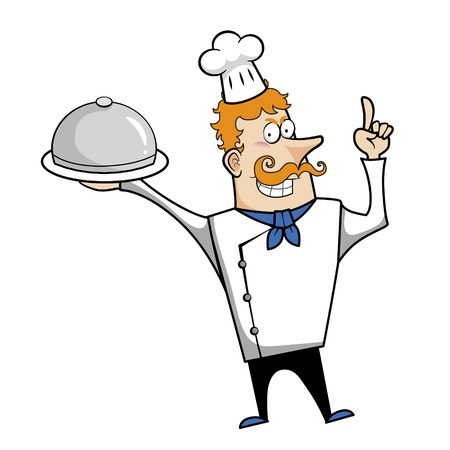 redheaded: Cartoon chef with serving tray vector illustration.