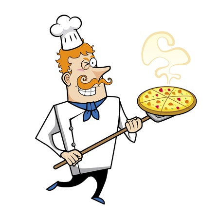 redheaded: Cartoon chef with pizza vector illustration.