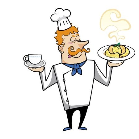 redheaded: Cartoon chef with pasta bowl and coffee vector illustration.