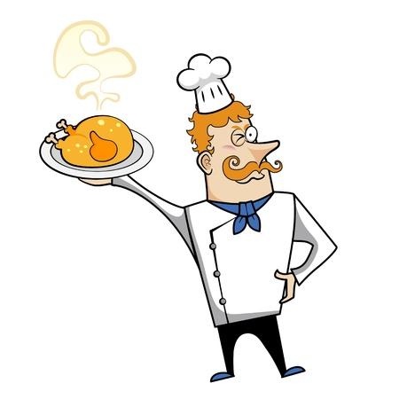 redheaded: Cartoon chef with roast chicken vector illustration.