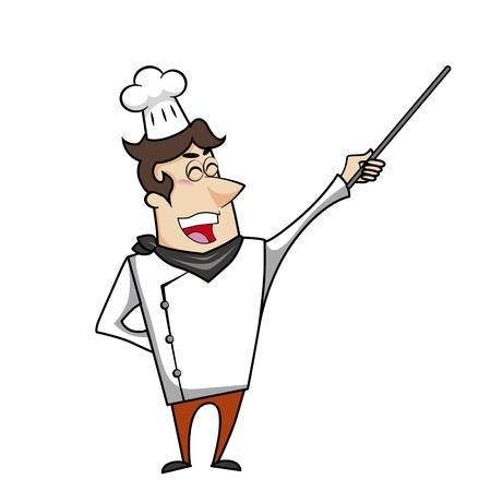 pointer stick: Cartoon cuoco con puntatore bastone illustrazione vettoriale.