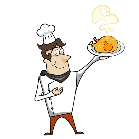 Cartoon chef with roast chicken vector illustration. Vector