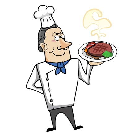 dinners: Cartoon chef with steak dinner vector illustration. Illustration