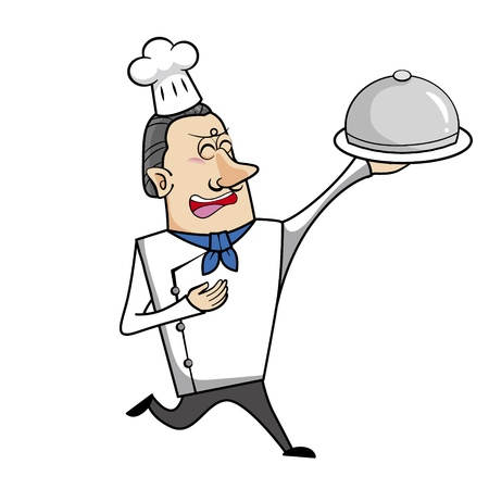 chuckling: Cartoon chef with serving tray vector illustration.