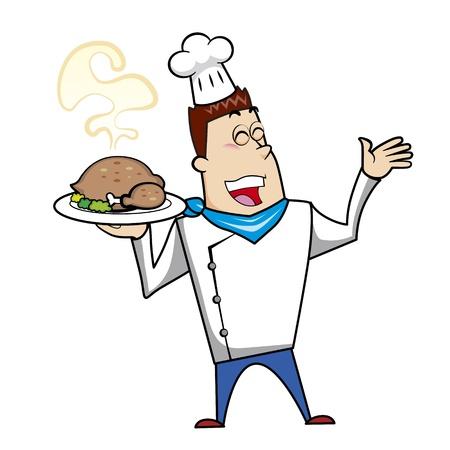 chuckling: Cartoon chef with roast turkey vector illustration.