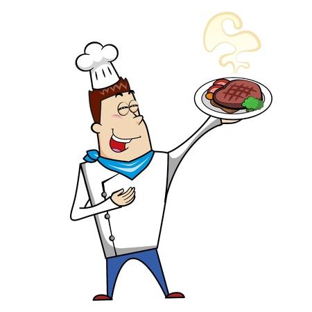 chef clipart: Cartoon chef with steak dinner vector illustration. Illustration