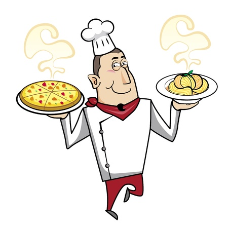 Cartoon chef with pasta bowl and pizza vector illustration. Vector