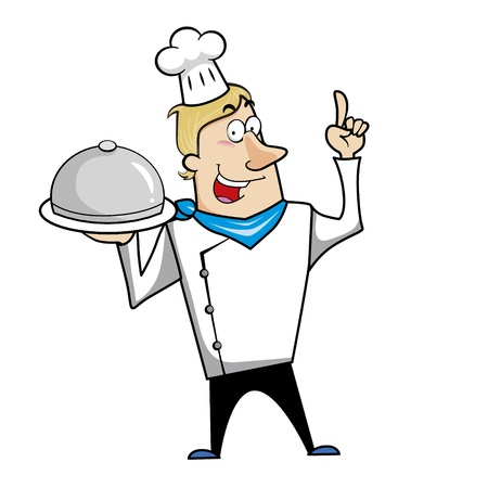 chef clipart: Cartoon chef with serving tray vector illustration.