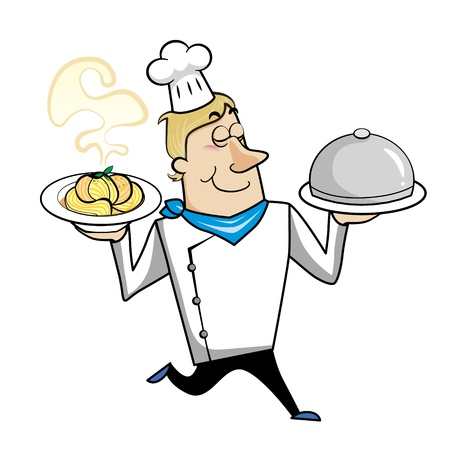 Cartoon chef with pasta bowl and serving tray vector illustration. Vector