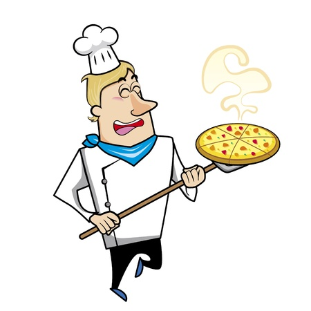 chuckling: Cartoon chef with pizza vector illustration.