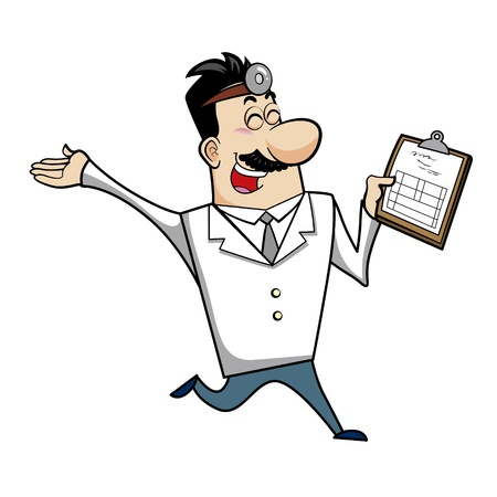 Vector illustration of a cartoon doctor with a medical chart clipboard. Stock Vector - 18261310