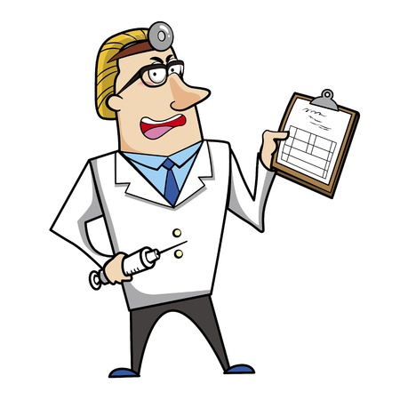 Vector illustration of a cartoon doctor with a syringe and medical chart clipboard. Vector
