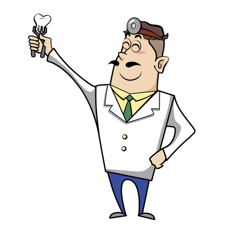 clamps: Vector illustration of a cartoon dentist doctor with a tooth in clamps.