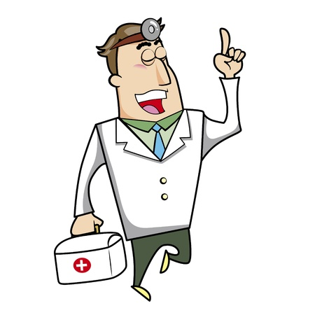 blonde hair cartoon: Vector illustration of a cartoon doctor with a first aid kit medical bag.