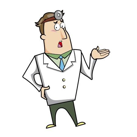 smirking: Vector illustration of a cartoon doctor. Illustration