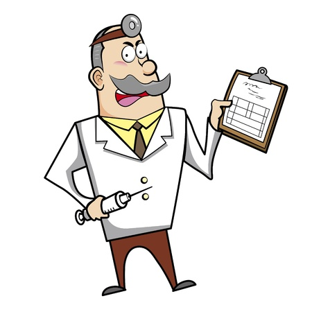 people looking up: Vector illustration of a cartoon doctor with a syringe and medical chart clipboard.