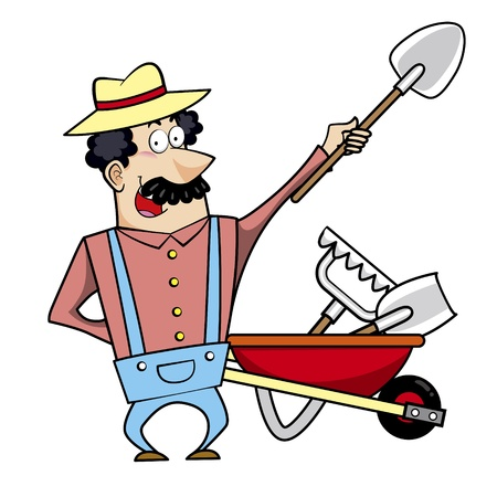 Vector illustration of a cartoon landscaper, farmer or gardener with a wheelbarrows full of garden tools. Vector