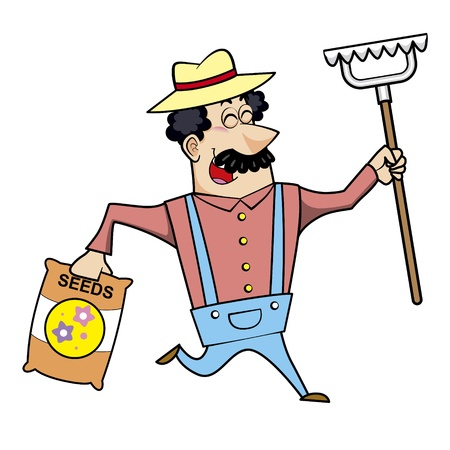 chuckling: Vector illustration of a cartoon landscaper, farmer or gardener with a rake and seed bag. Illustration