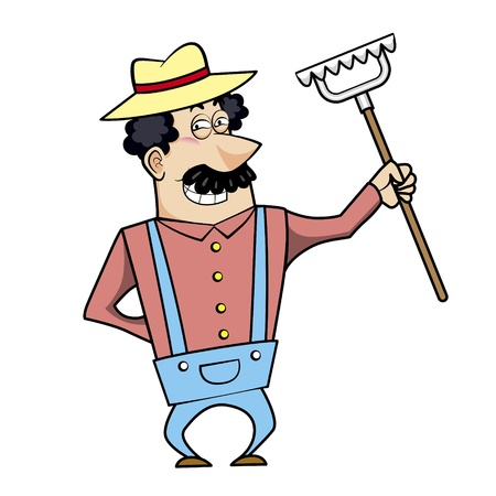 Vector illustration of a cartoon landscaper, farmer or gardener with a rake. Stock Vector - 18261287